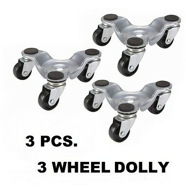 3X 3 Wheel Steel Mover's Dolly Furnitures Equipments Couches Chairs 132 lb. Cap.