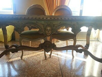 Inlaid table with 6 chairs in style