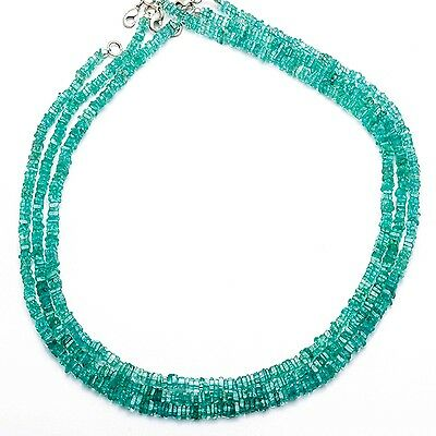 """Natural Gemstone Apatite 3.5Mm Square Heishi Beads 16"""" Finished Necklace"""