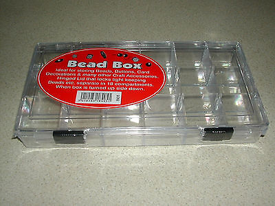 Deluxe Quality Bead Storage Box Small Plastic 21cm x10.5cm x 3cm 18 Compartments
