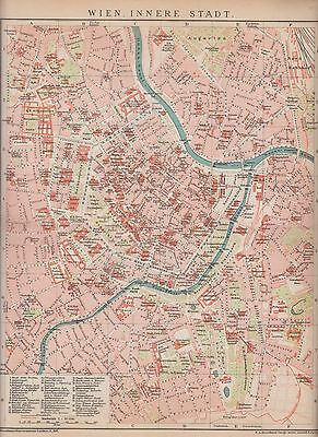 c. 1890 AUSTRIA VIENNA CITY PLAN Antique Map