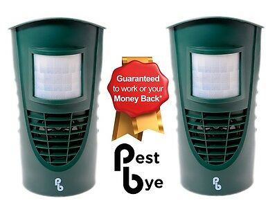 2 x Pestbye Advanced Ultrasonic Cat Repellent Fox Deterrent Scarer Repeller
