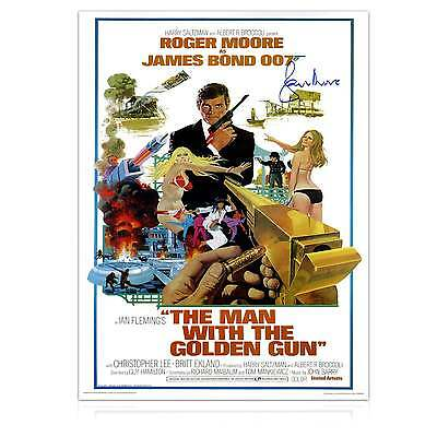 Roger Moore Signed The Man With The Golden Gun James Bond 007 Film Poster