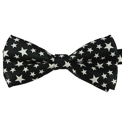 Unisex Black with White Star Pattern Novelty Fancy Dress Bow Tie - Brand New