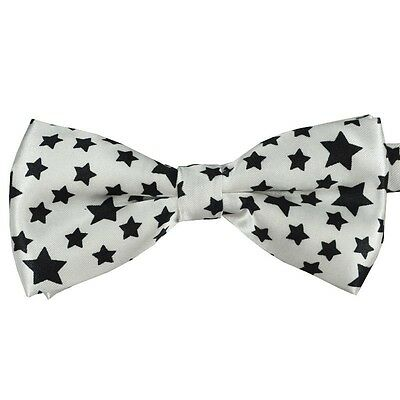 Unisex White with Black Star Pattern Novelty Fancy Dress Bow Tie - Brand New