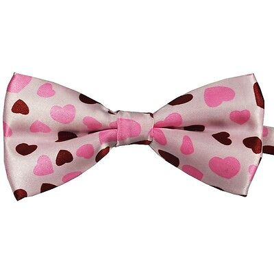 Unisex Pink and Red Heart Pattern Love Novelty Fancy Dress Bow Tie - Brand New