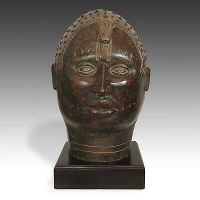 Vintage Royal Portrait Head Oba Terracotta Benin West Africa Late 19Th C.