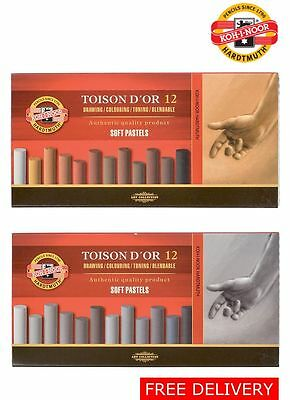 Artist Dry Soft Pastel Drawing Set Grey Brown Round Chalk KOH-I-NOOR TOISON 8522
