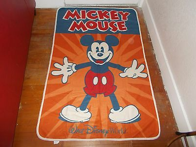 DISNEY PARKS Mickey Mouse Orange/Blue Throw Blanket w/Matching Backpack