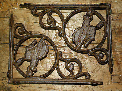 2 Cast Iron WESTERN Style BRONCO Brackets, Garden Braces COWBOY Shelf Bracket