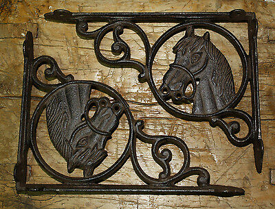 2 Cast Iron WESTERN Style HORSE HEAD Brackets, Garden Braces PONY Shelf Bracket