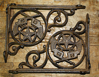2 Cast Iron WESTERN Style PISTOL Brackets, Garden Braces GUNS Shelf Bracket