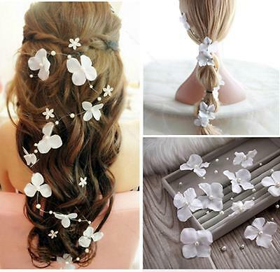White flower crystals Pearls Beads Bridal Wedding #A Headpiece Hair Accessories