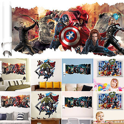 37 Styles 3D Cracked Children Themed Art Boy Room Wall Sticker Home Decal Decor