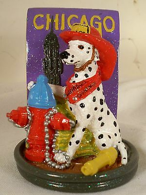Dog Figurine-DALMATIAN-Chicago Fireman-Sitting-COLORFUL-WHIMSICAL-VERY CUTE!!