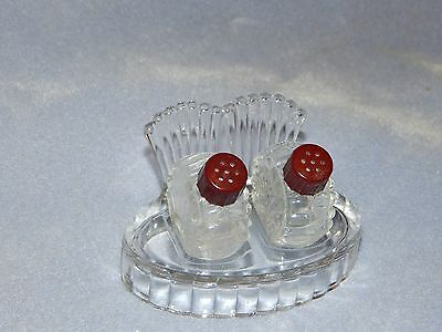 1930's - 3-Piece Clear Pressed Glass Salt & Pepper Shakers Set - Oval Clamshell