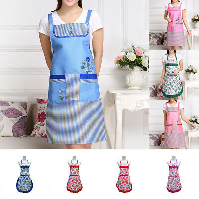 Chic Women's Apron With Pocket Bib Cooking Chef Floral Kitchen Restaurant