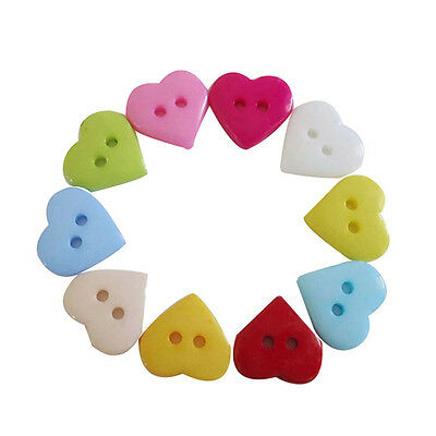 100/200pcs Kids Craft DIY Heart Acrylic Buttons Fit Sewing or Scrapbooking 10mm