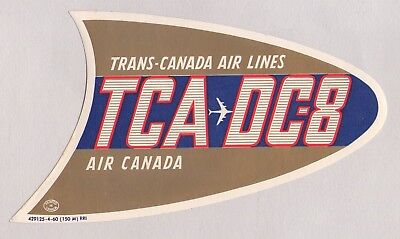 Vintage 1960 Trans-Canada Air Lines Tca Dc-8 Air Canada Airline Luggage Label