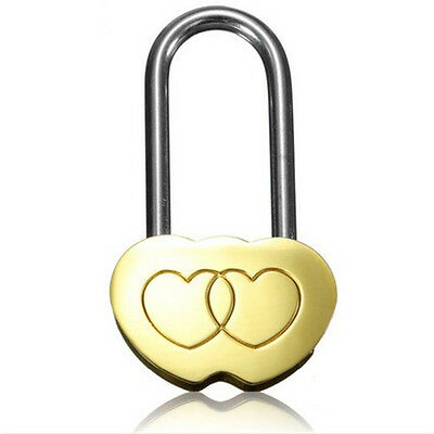 1X Fashion Padlock Love Lock Engraved Double Heart Valentines Anniversary  Gifts