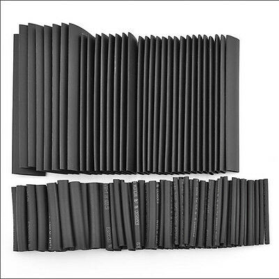 127pc Assorted 7 Size Black 2:1 Heat Shrink Tubing Tube Sleeving Cable Wire Kit
