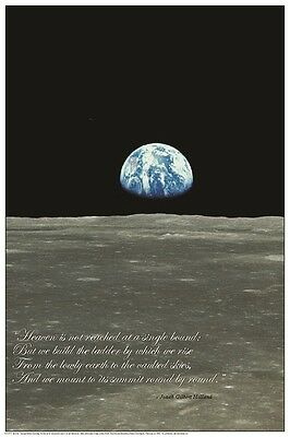 (LAMINATED) EARTHRISE FROM THE MOON POSTER (61x91cm) EDUCATIONAL CHART NEW WALL