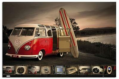 VW Camper Kombi Surfboard Large Wall Poster New