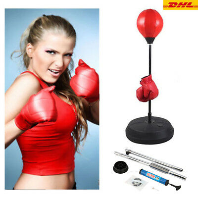Boxen Set Punchingball Standboxsack Standbox Handschuhen Punching-Training NEU