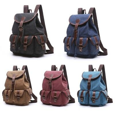 Women Lady Vintage Canvas Backpack School Bag Satchel Rucksack Travel Camping