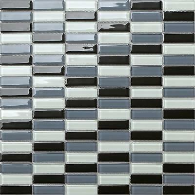1 SQ M Black Grey White Glass Walls Bath Splashback Mosaic Wall Tiles 0015