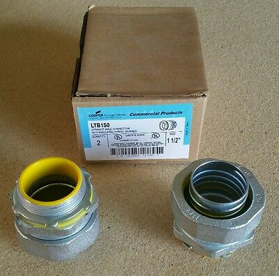 """New Box Of 2 Crouse Hinds Ltb150 1-1/2"""" Liquidtight Connector Straight Insulated"""