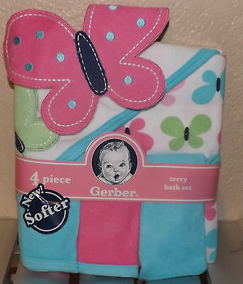 -Gerber Terry Bath Set: BUTTERFLY / PINK 1 towel 3 wash cloth NEW w TAGS