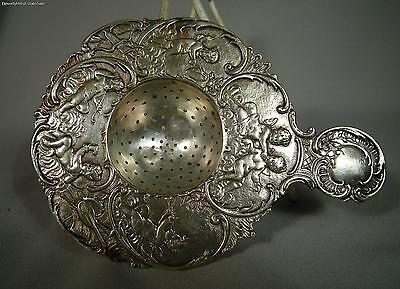 Antique German 800 Silver Cherub Tea Strainer