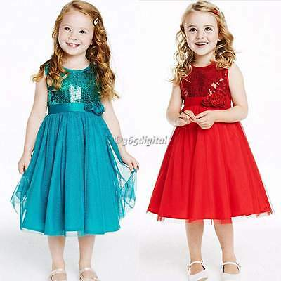 New Baby Kids Girls Princess Party Sleeveless Net Yarn Sequins Gown Dress 4-11Y