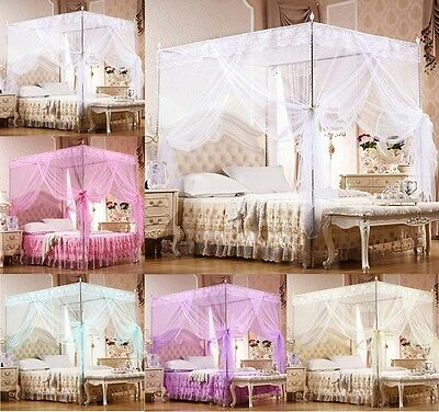 Lace Princess Four Corner Post Bed Canopy Mosquito Netting Single Double King