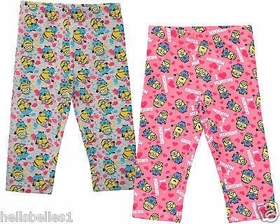 Girl's Official Fully Licensed Minions Capri/Cropped Leggings 5-12 Years