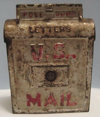 Antique Cast Iron Toy U.S. Mail Box Bank Silver & Red 1910s-1920s