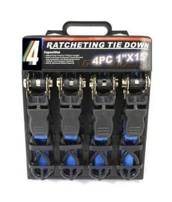 4PC HEAVY DUTY RATCHET TIE DOWN CARGO STRAPS 4.6 Metre/1 Inch-15'/25MM BLUE CHN
