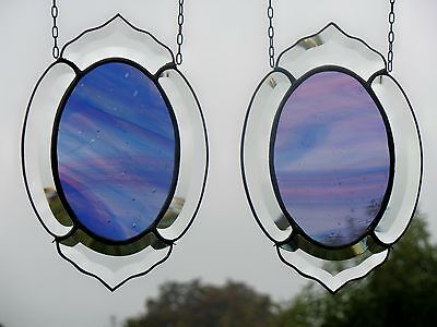 Stained Glass Facets Window-Screen Pair With English Antique Glass In Tiffany
