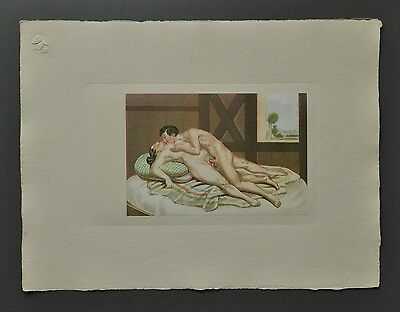 Peter Fendi 1796-1842 Lithographie 40x30 Akt Erotik Biedermeier Nude Couple Barn