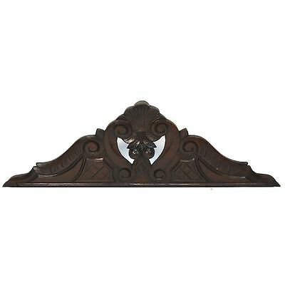Antique French Carved Walnut Architectural Salvaged Heart Shape Crest Pediment