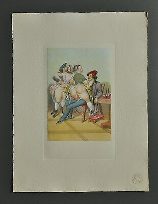 Peter Fendi 1796-1842 Lithographie 30x40 Akt Erotik Biedermeier Nude Couples Bar