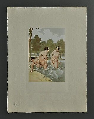 Peter Fendi 1796-1842 Lithographie 30x40 Akt Erotik Biedermeier Nude Girls Women