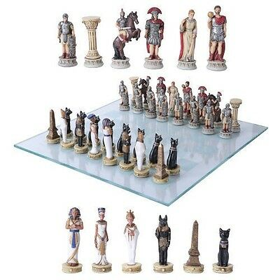 Egyptian King Tut VS Roman Kingdom Rome Resin Chess Pieces With Glass Board Set