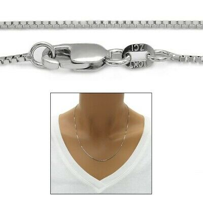 Guaranteed 10K White Gold Box Chain Necklace 1mm w/ Lobster Lock