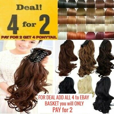 Claw ponytail big wavy clip in hair pony extensions piece good quality Synthetic
