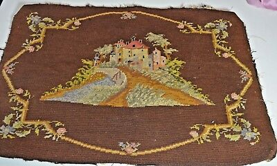 Unique Vintage Needlepoint With Village On A Hill Rr589