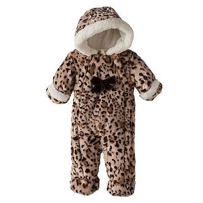 Pistachio Baby Girl Faux-Fur Cheetah Hooded Bunting Snow Suit, 6/9 Mos - NWT!!