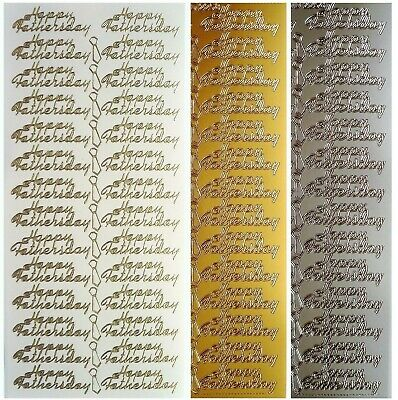 HAPPY FATHERS DAY Peel Off Stickers Card Making Sentiments Silver or Gold