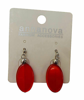 Parcel Of 18 Anna Nova Red Oval Earings With Silver Beads 10915S-E